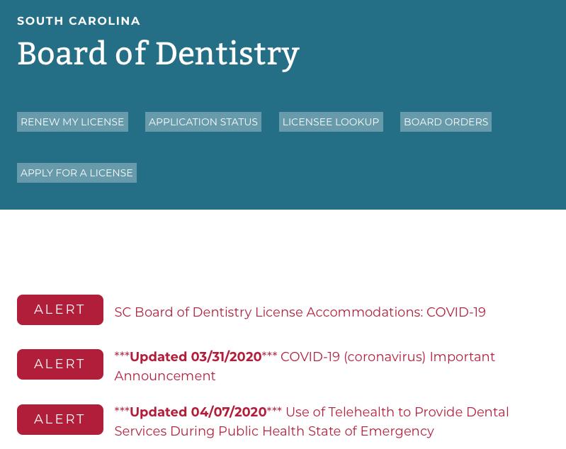 SC dental license update cover-19